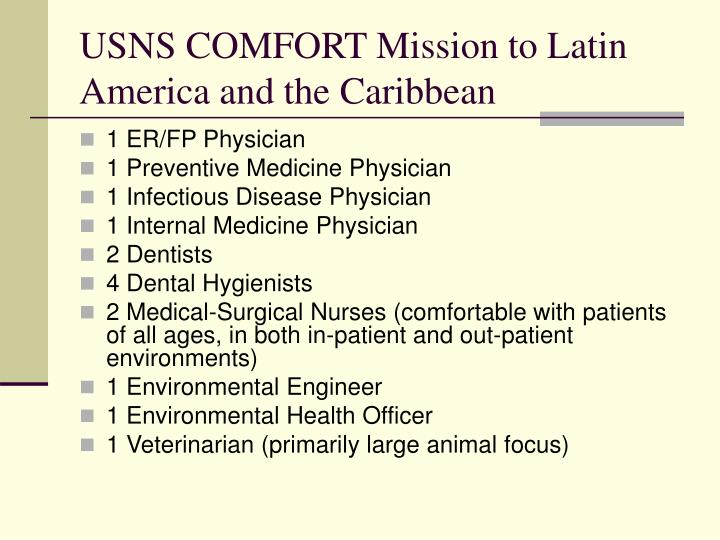 USNS COMFORT Mission to Latin America and the Caribbean