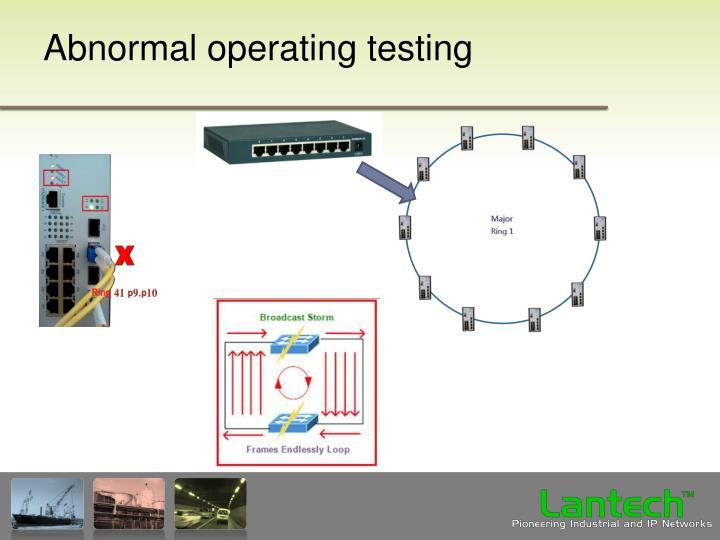 Abnormal operating testing