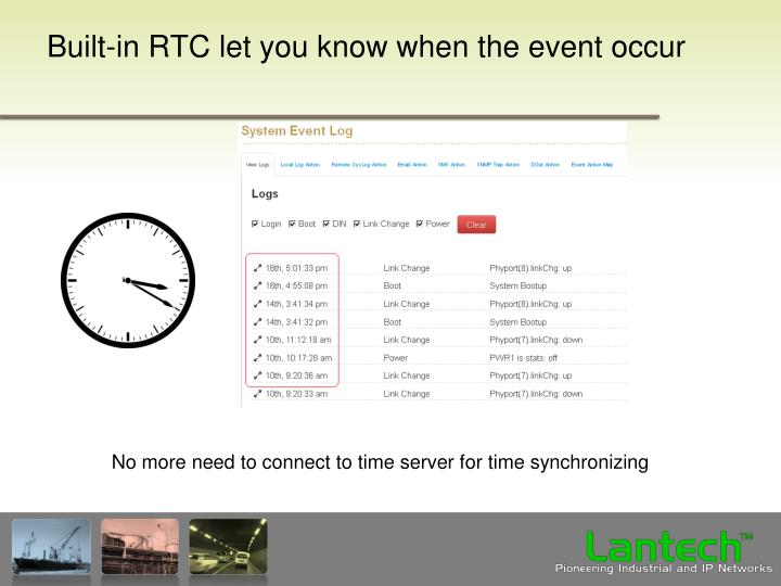 Built-in RTC let you know when the event occur