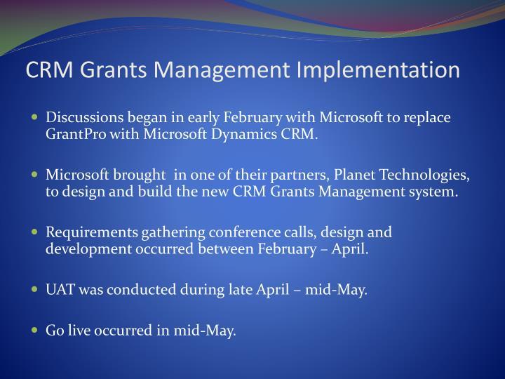 CRM Grants Management Implementation