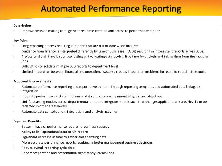 Automated Performance Reporting
