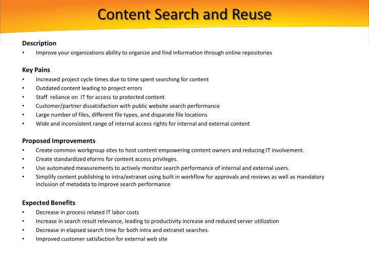 Content Search and Reuse