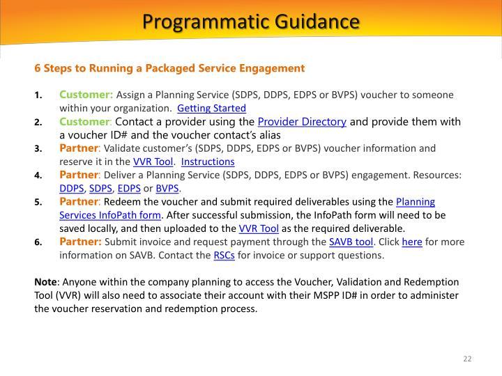 Programmatic Guidance
