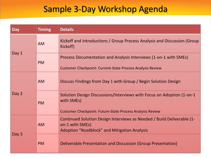 Sample 3-Day Workshop Agenda