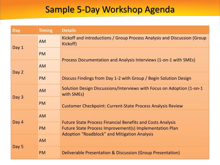 Sample 5-Day Workshop Agenda