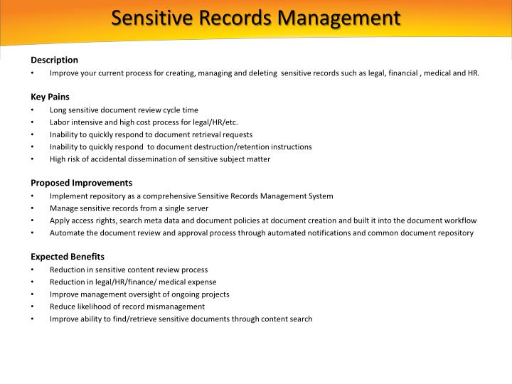 Sensitive Records Management