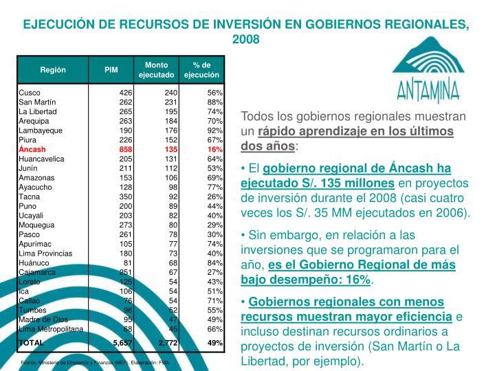 EJECUCIÓN DE RECURSOS DE INVERSIÓN EN GOBIERNOS REGIONALES,