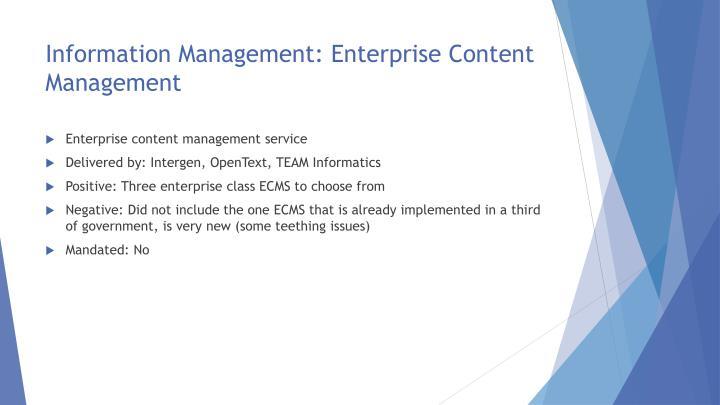 Information Management: Enterprise Content Management