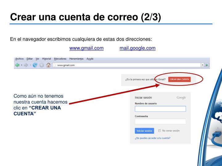 Crear una cuenta de correo (