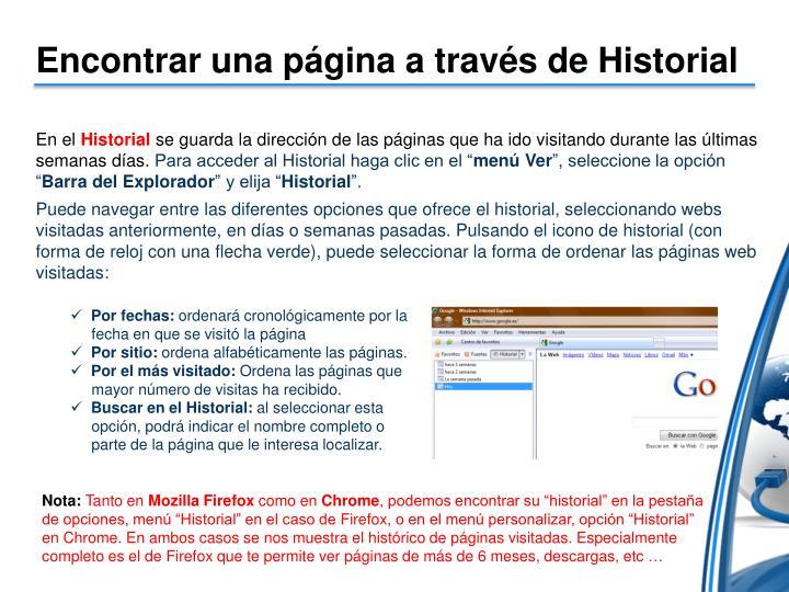 Encontrar una página a través de Historial