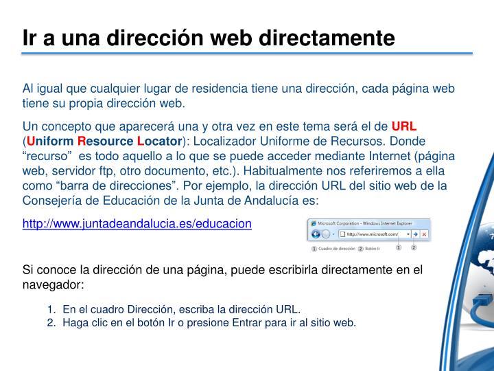 Ir a una dirección web directamente