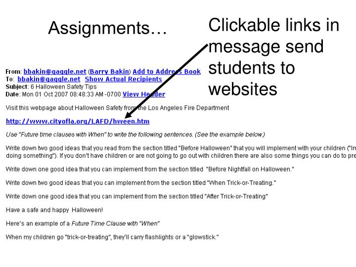 Clickable links in message send students to websites