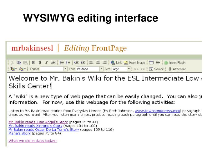 WYSIWYG editing interface