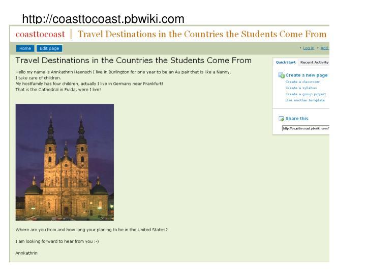 http://coasttocoast.pbwiki.com