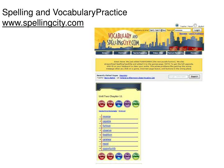 Spelling and VocabularyPractice
