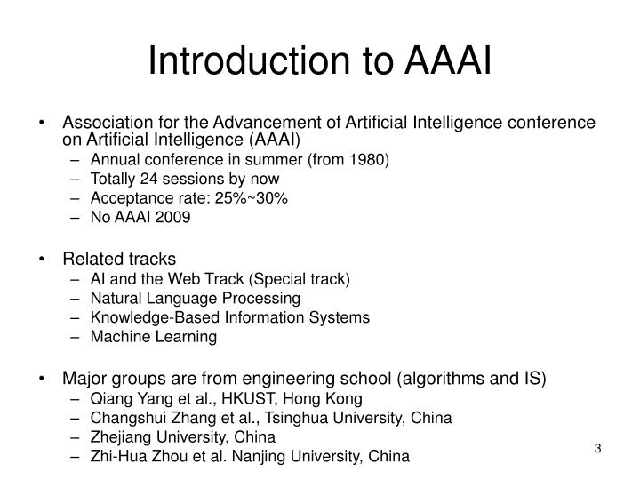 Introduction to aaai