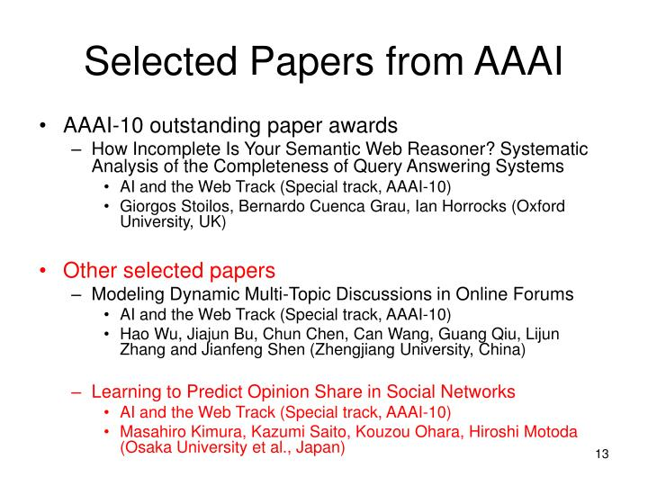 Selected Papers from AAAI