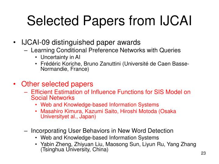 Selected Papers from IJCAI