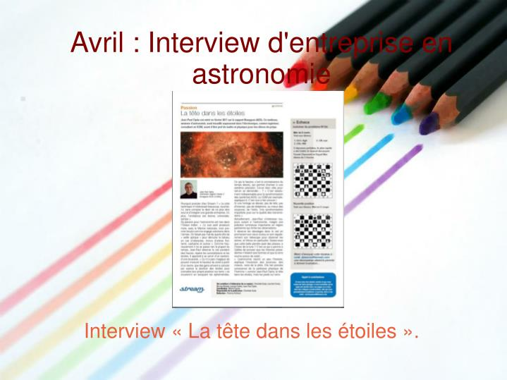 Avril : Interview d'entreprise en astronomie