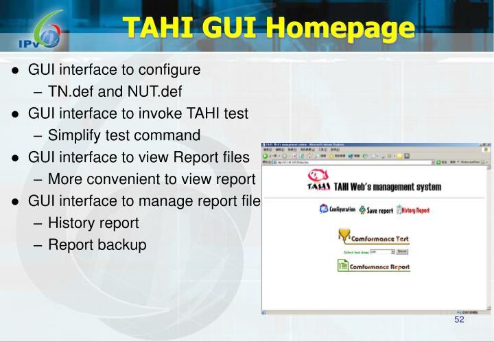 TAHI GUI Homepage