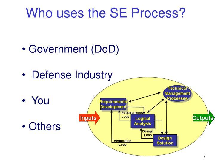 Who uses the SE Process?
