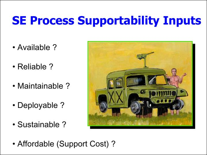 SE Process Supportability Inputs