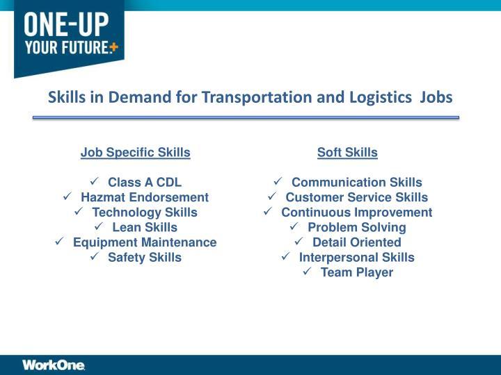 Skills in Demand for Transportation and Logistics  Jobs