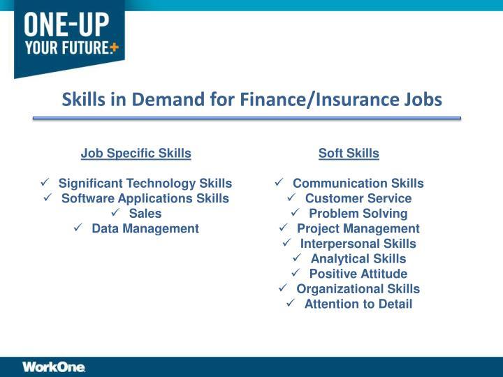 Skills in Demand for Finance/Insurance Jobs