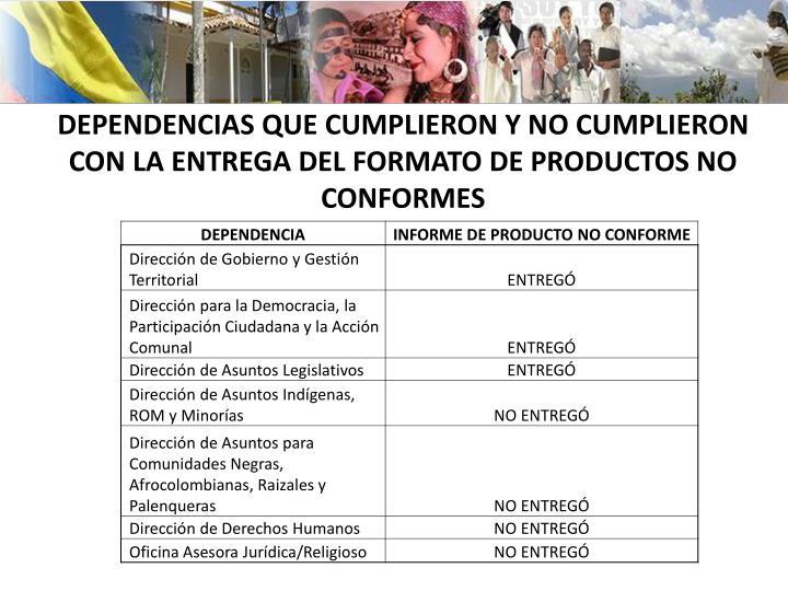 DEPENDENCIAS QUE CUMPLIERON Y NO CUMPLIERON CON LA ENTREGA DEL FORMATO DE PRODUCTOS NO CONFORMES