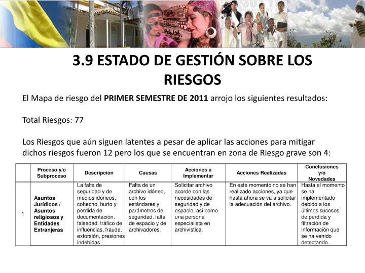 3.9 ESTADO DE GESTIÓN SOBRE LOS RIESGOS