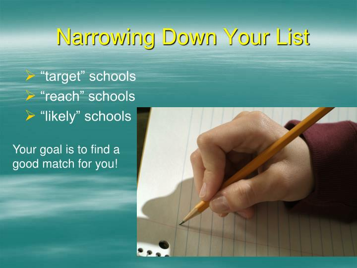 Narrowing Down Your List