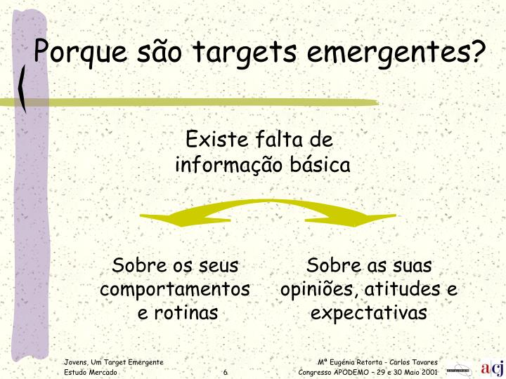 Porque são targets emergentes?