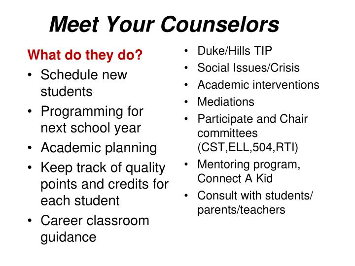 Meet Your Counselors