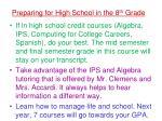 preparing for high school in the 8 th grade