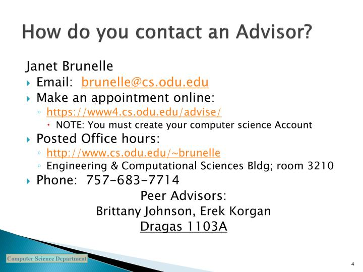 How do you contact an Advisor?