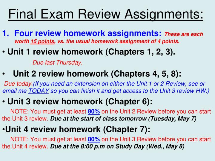 Final exam review assignments