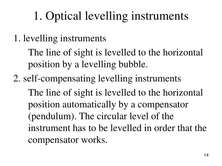 1. Optical levelling instruments