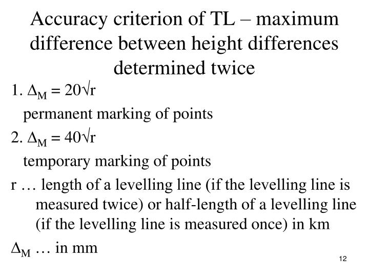 Accuracy criterion of TL – maximum difference between height differences determined twice