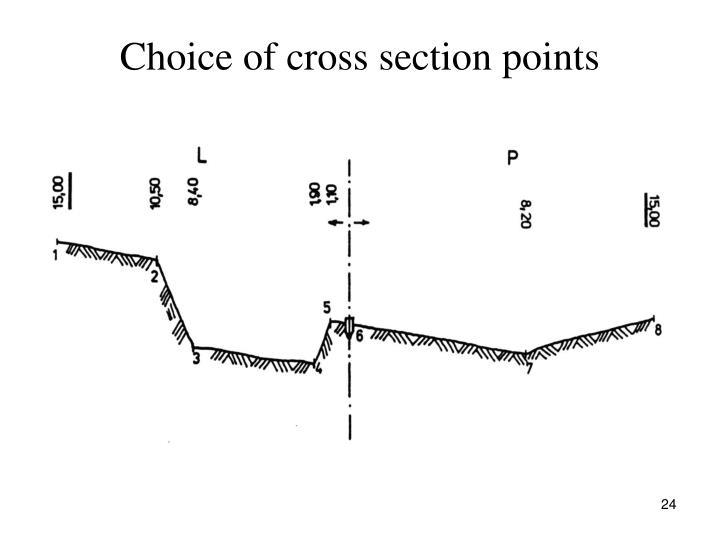 Choice of cross section points