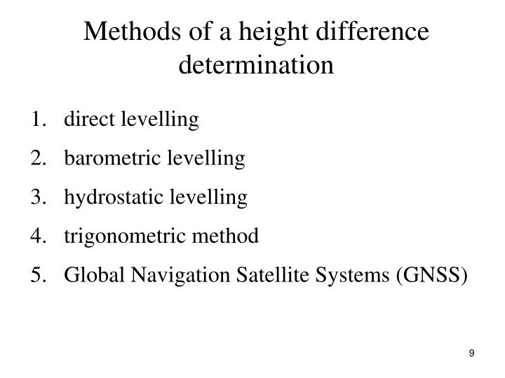 Methods of a height difference determination