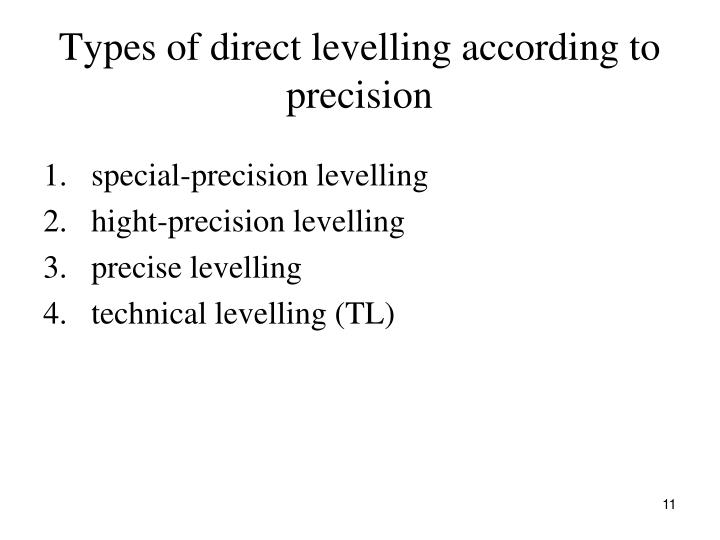 Types of direct levelling according to precision