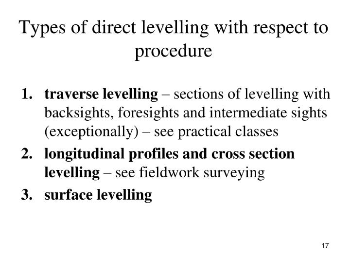 Types of direct levelling with respect to procedure