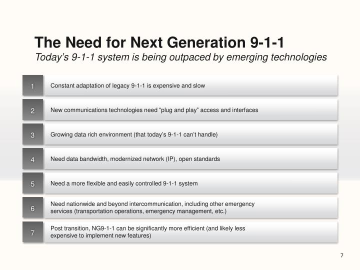 The Need for Next Generation 9-1-1