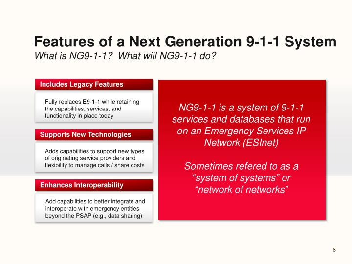 Features of a Next Generation 9-1-1 System