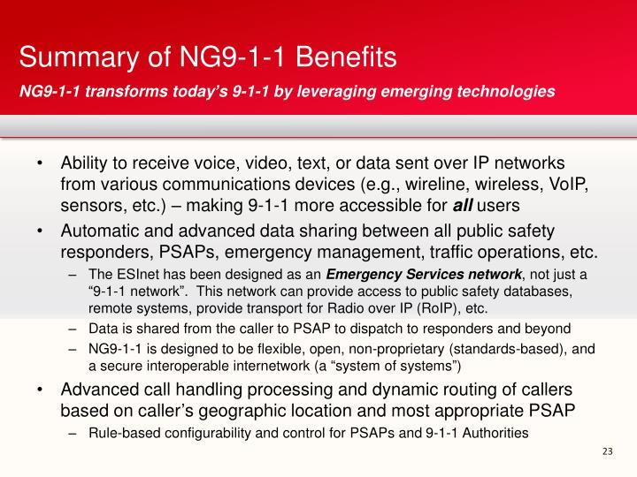 Summary of NG9-1-1 Benefits