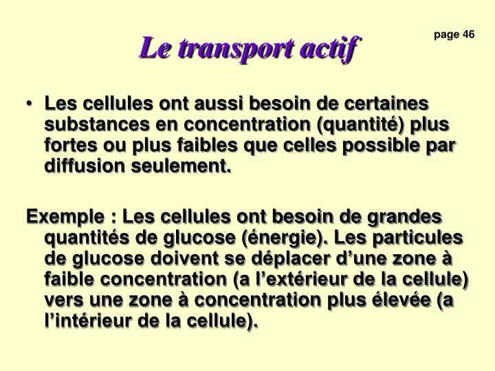 Le transport actif