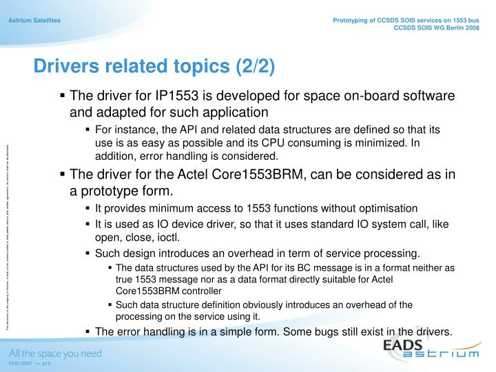 Drivers related topics (2/2)