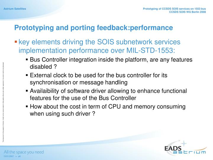 Prototyping and porting feedback:performance