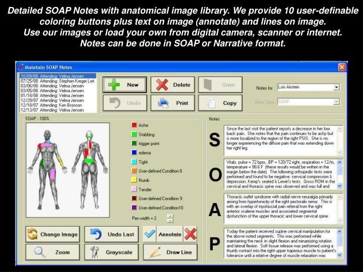 Detailed SOAP Notes with anatomical image library. We provide 10 user-definable coloring buttons plus text on image (annotate) and lines on image.