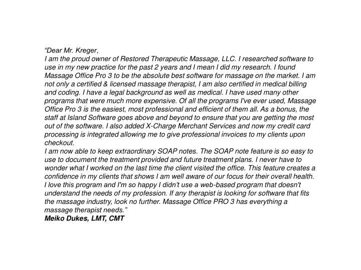 """Dear Mr. Kreger"